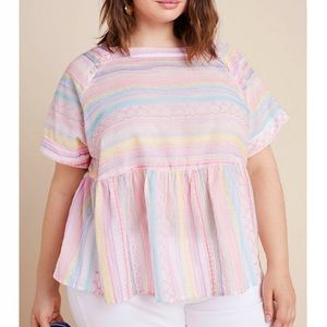 Anthropologie Letty Embroidered White Babydoll Top